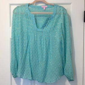 Lily Pulitzer aqua metallic silk blouse 💫🏝